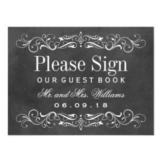 "Wedding Guest Book Sign   Chalkboard Flourish 6.5"" X 8.75"" Invitation Card"