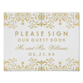 Wedding Guest Book Sign | Gold Vintage Glamour