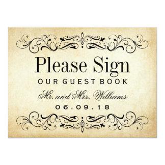 "Wedding Guest Book Sign | Vintage Flourish 6.5"" X 8.75"" Invitation Card"