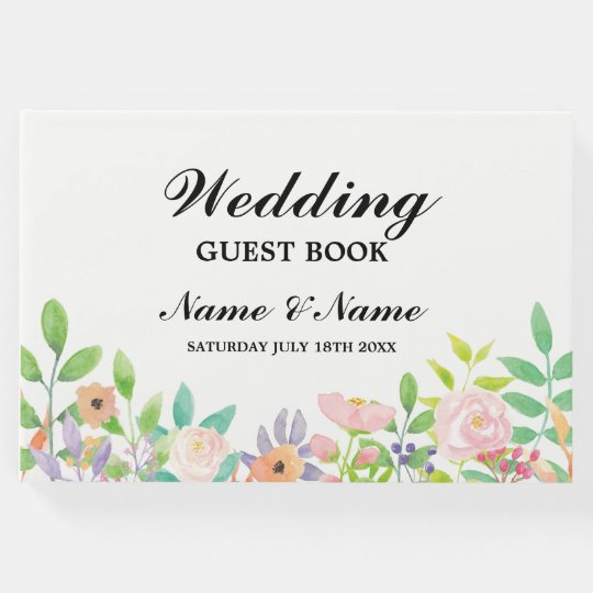 Wedding Guest Book Watercolour Floral Reception