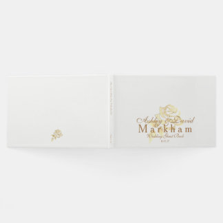 Wedding Guest Book-White with Golden Rose Guest Book