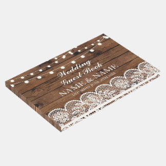 Wedding Guest Book Wood Lace Rustic Lights