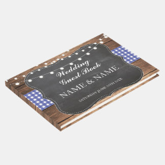 Wedding Guest Book Wood Rustic Lights Blue Check
