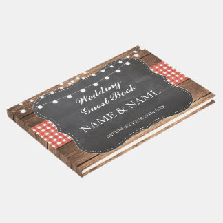 Wedding Guest Book Wood Rustic Lights Red Check