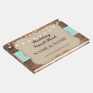 Wedding Guest Book Wood Rustic Lights Teal Check