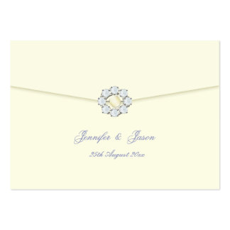 Wedding Guestbook Cards Ivory with Pearl & Diamond Business Card Template
