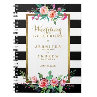 Wedding Guestbook Elegant Chic Gold Black Floral Spiral Notebook