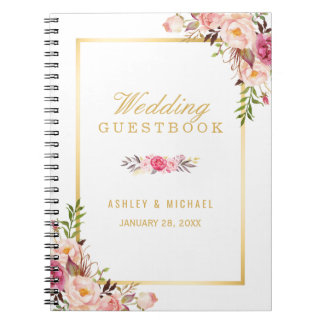 Wedding Guestbook - Elegant Chic Gold Pink Floral Spiral Notebooks