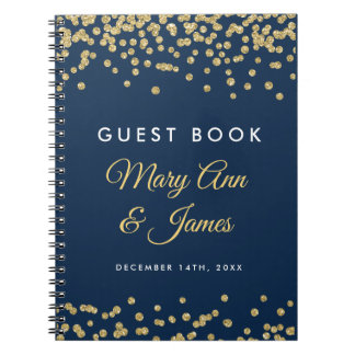 Wedding Guestbook Gold Faux Glitter Confetti Navy Notebook