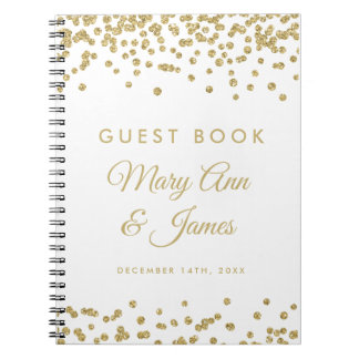 Wedding Guestbook Gold Faux Glitter Confetti White Notebooks