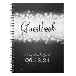 Wedding Guestbook  Magic Sparkle Black Notebook