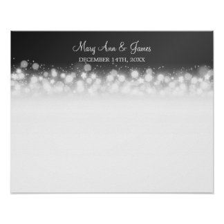 Wedding Guestbook  Magic Sparkle Black Poster