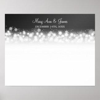 Wedding Guestbook  Magic Sparkle Black Poster