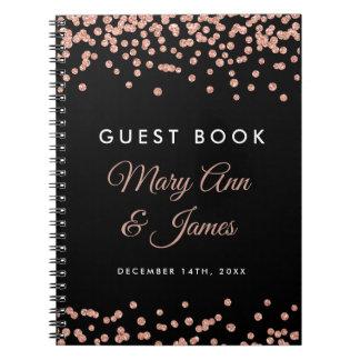 Wedding Guestbook Rose Gold Glitter Confetti Black Notebook