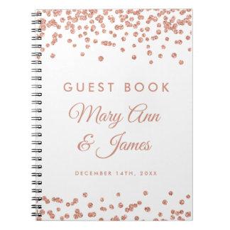 Wedding Guestbook Rose Gold Glitter Confetti White Notebook