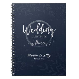 Wedding Guestbook - Rustic Bird on Leaves Floral Notebook