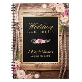 Wedding Guestbook - Rustic Wood Knot Floral Notebooks