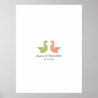 Wedding Guestbook Signature Board - Tangram Swan