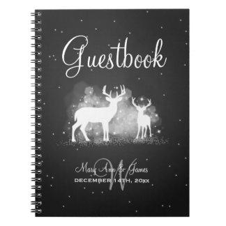 Wedding Guestbook Winter Deer Sparkle Black Notebook