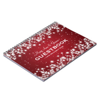 Wedding Guestbook Winter Sparkle Red Spiral Notebook