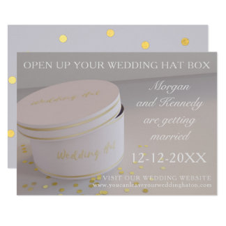 Wedding Hat Box Gold Confetti Save The Date Cards