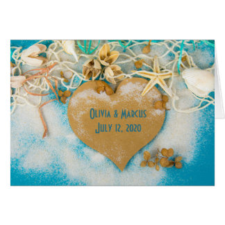 wedding heart with seashells and starfish card