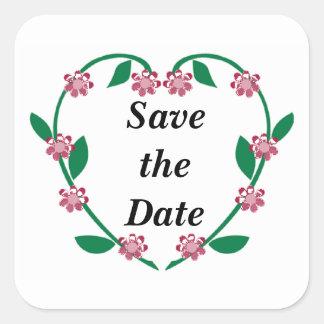 Wedding Heart Wreath Square Sticker