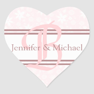 Wedding Hearts Bride And Groom Monogram Letter B Heart Sticker