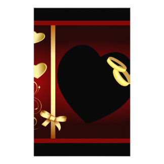 Wedding Hearts Golden Rings Set Stationery Paper