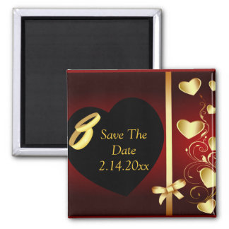 Wedding Hearts Golden Rings Square Magnet