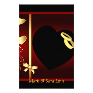 Wedding Hearts Golden Rings Personalized Stationery