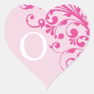 Wedding Hearts Letter O Monogram Pink Wedding Heart Sticker