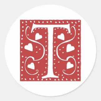 Wedding Hearts Letter T Classic Round Sticker