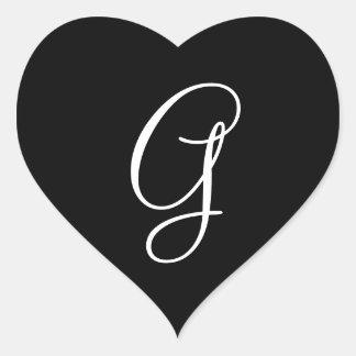 Wedding Hearts Monogram Letter G Wedding Envelope Heart Sticker
