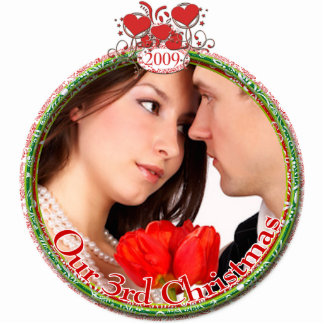 Wedding Hearts Our 3rd Christmas Photo Sculpture Ornament
