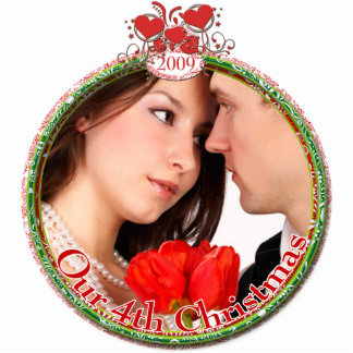 Wedding Hearts Our 4th Christmas Photo Sculpture Ornament