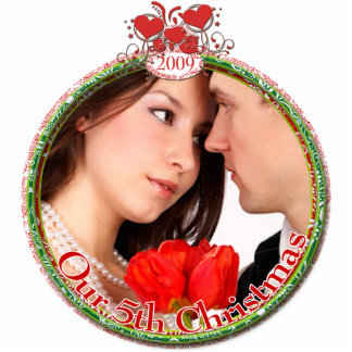 Wedding Hearts Our 5th Christmas Photo Sculpture Ornament
