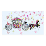 Wedding Horse & Carriage Flowers & Butterflies 2 Business Card Template