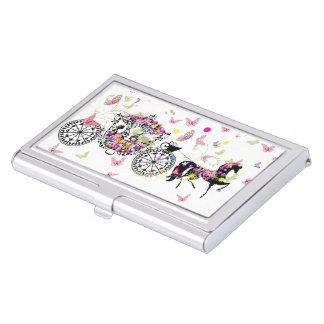 Wedding Horse & Carriage Flowers & Butterflies 2 Business Card Holder