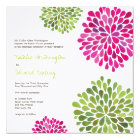Wedding Hot Pink & Green Flower Blooms Invitation