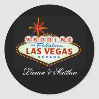 Wedding in Fabulous Las Vegas Classic Round Sticker