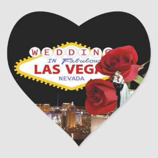 Wedding In Fabulous Las Vegas Roses with Bride & G Heart Sticker