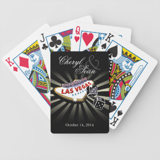 Wedding in Las Vegas black & silver Las Vegas sign Bicycle Playing Cards