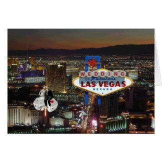 WEDDING In Las Vegas Bride & Groom floating on Dic Card