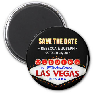 Wedding in Las Vegas Sign - Neon Save the Date 2 Inch Round Magnet