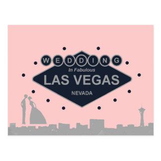 Wedding in Las Vegas with Silhouette Bride & Groom Postcard