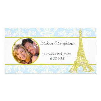 Wedding in Paris Blue Damask Photo Announcement Photo Card
