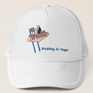 WEDDING In Vegas Bride & Groom on LV Sign Cap