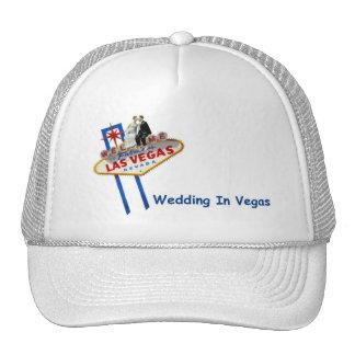 WEDDING In Vegas Bride & Groom on LV Sign Cap Trucker Hat