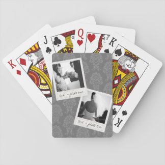 Wedding Instagram 2 Photos Retro frame Custom Text Poker Deck